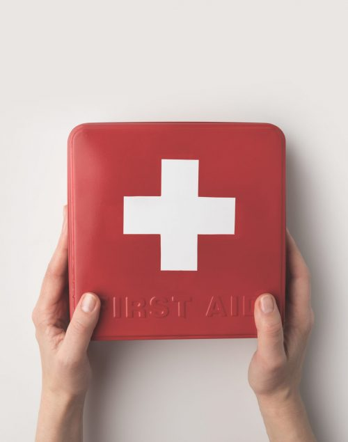 Cropped,Image,Of,Woman,Holding,First-aid,Kit,In,Hands